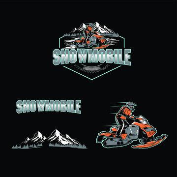 snow mobile set sport logo