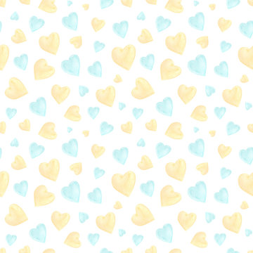 Blue and yellow hearts  seamless pattern. Watercolor romance symbols on white background. Pastel small hearts. St Valentines day wrapping paper, romantic aquarelle textile design