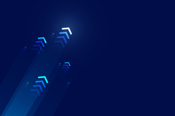 Arrows up with speed line on blue background, copy space composition, technology speed development concept.