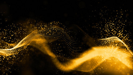 Gold color digital particles wave flow abstract technology background concept Wall mural