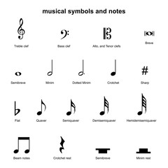 set musical symbols , Elements of musical symbols, icons and annotations. vector