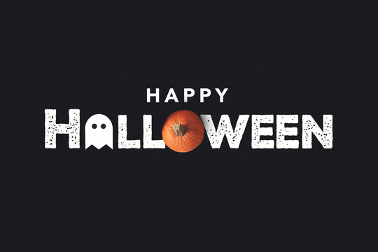 Happy Halloween Distressed Text with Pumpkin and Ghost Over Black Background