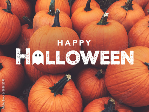 Happy Halloween Text with Pumpkins Background