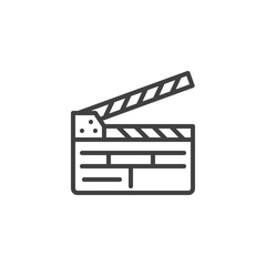 Clapper board line icon. clapboard linear style sign for mobile concept and web design. Movie clapper outline vector icon. Symbol, logo illustration. Vector graphics