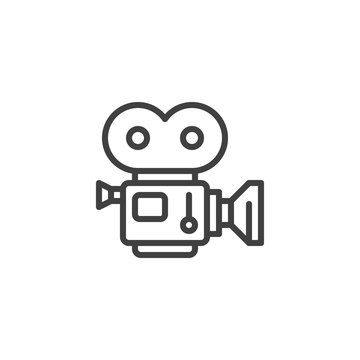 Movie camera with film strip line icon. linear style sign for mobile concept and web design. Camcorder, retro cinema projector outline vector icon. Symbol, logo illustration. Vector graphics