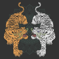 tiger tattoo design wild animal illustration vector