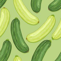 Vector Seamless Pattern of Zucchini Fruits