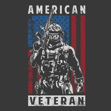american veteran illustration vector