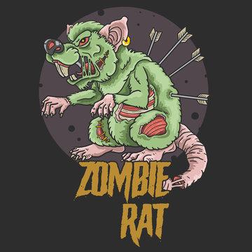 zombie rat killer illustration vector