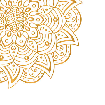 Golden vector mandala isolated on white background. A symbol of life and health. Invitation, wedding card, scrapbooking, magic symbol.