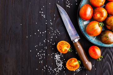Fresh tomatoes in a plate on a dark background. Harvesting tomatoes. Copy space