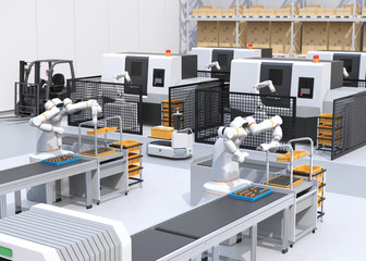 Dual-arm robot assembly motor coils in cell-production space. AGV passing CNC machines. Smart factory concept. 3D rendering image.