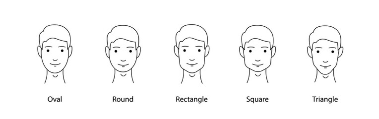 Set of vector face shapes. Oval, triangle, round, square, rectangle. Different types of men faces.