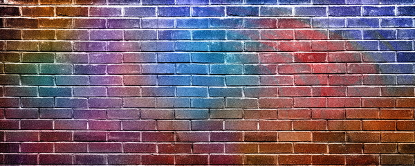 Colorful background, paint on a brick wall