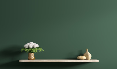 Shelf with bouquet of white roses in copper vase over dark green wall 3d rendering