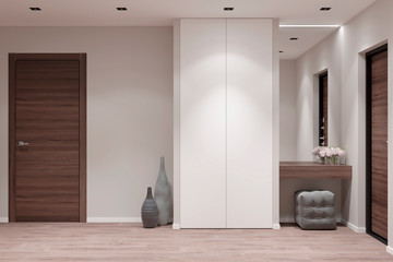 3d illustration. Entrance hall in the apartment with wardrobe, mirror, pouf