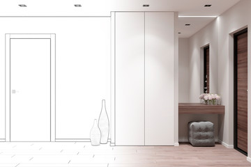 3d illustration. Sketch of the entrance hall in the apartment became a real interior Wall mural