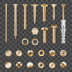 Realistic Golden Fasteners Transparent Set