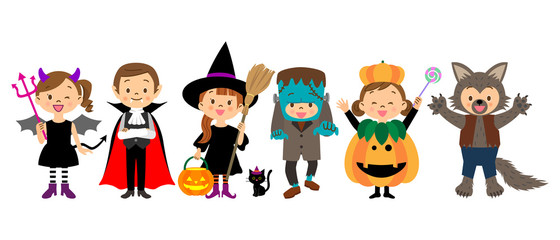 ハロウィンの仮装をする子供たち  Wall mural