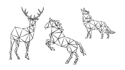 Fashion geometric outlines of strong animal deer, horse and wolf on white. Minimalism in the style of trigonometry.