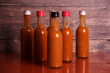 Hot sauce on a table
