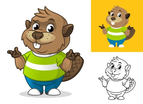 Beaver with Confused Gesture Cartoon Character Mascot Illustration, Including Flat and Line Art Designs, Vector Illustration, in Isolated White Background.