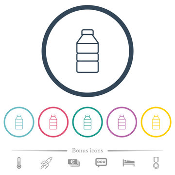Water bottle flat color icons in round outlines