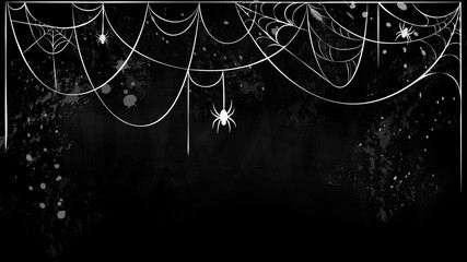 cobweb horizontal banner with hanging spiders on black grunge background. white torn spider web silhouette on black chalkboard. Halloween holiday banner, card, flyer template with place for text