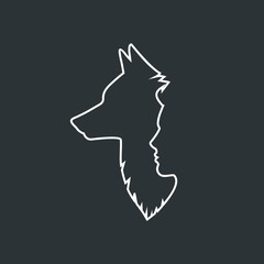 Profile of a man and a wolf