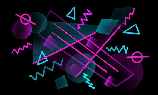 Modern futuristic background with geometric shapes.  Neon colors, lines, triangles.  Modern cover, poster.