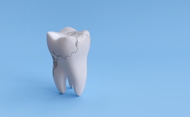 Broken tooth isolated on blue background with clipping path. 3d render illustration