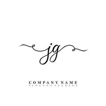 Initial letter JG beauty vector handwriting concept logo