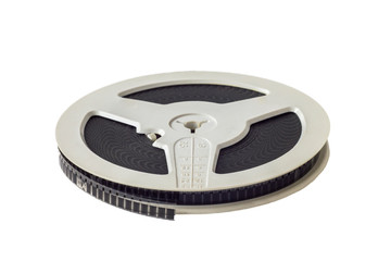 old vintage round film reel isolated on white background