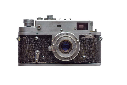 old vintage shabby camera isolated on white background