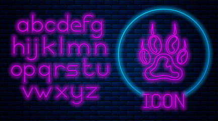 Glowing neon Paw print icon isolated on brick wall background. Dog or cat paw print. Animal track. Neon light alphabet. Vector Illustration