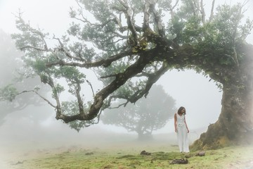 Woman in white clothes standing near a misty tree in a foggy wood