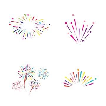 fire work icon Vector Illustration design Logo