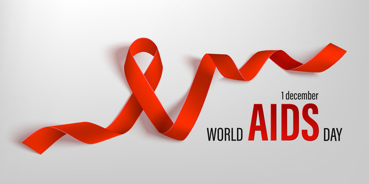 Red ribbon of the world aids day vector banner