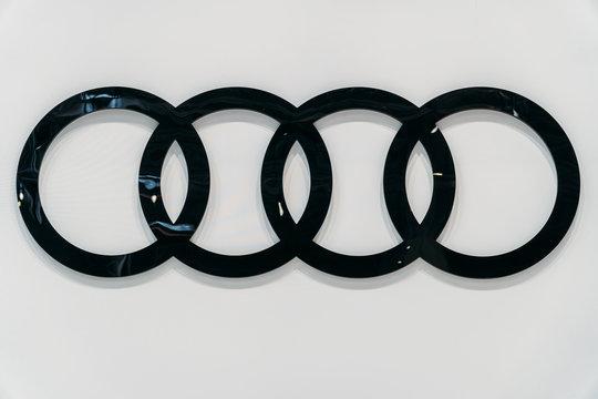 BUCHAREST, ROMANIA - MARCH 28, 2018: Audi Car Sign Closeup View