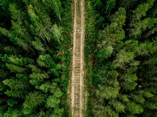 Aerial view of railroad tracks with green forest and trees in rural Finland