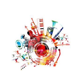 Music background with colorful music instruments and vinyl record disc vector illustration. Music festival poster with double bell euphonium, violoncello, trumpet, piano, euphonium, sax and guitar