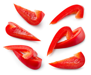 Red pepper. Pepper slice isolate. Paprika. Red bell pepper piece. With clipping path.
