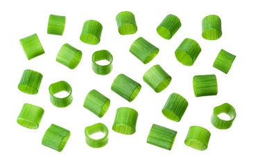 Spring chopped onions. Green onion isolated. Heap of cut chives.