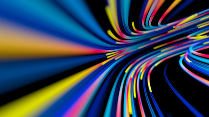 flow of neon lines in a tube