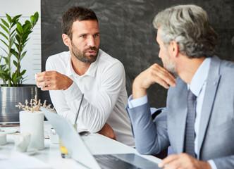 businessman portrait restaurant coffee conversation