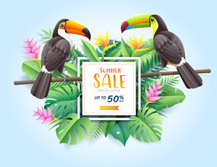 Summer sale card with two toco toucans on tropical leaf flowers paper cut background. Vector illustration