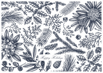 Merry Christmas background. Vector frame with hand drawn conifers and evergreen plants. Vintage design with botanical and floral elements. Winter decorative template in engraved style.
