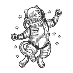 Cat astronaut spaceman in space sketch engraving vector illustration. Tee shirt apparel print design. Scratch board style imitation. Black and white hand drawn image.