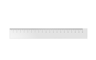 3d illustration of a transparent plastic ruler isolated on white