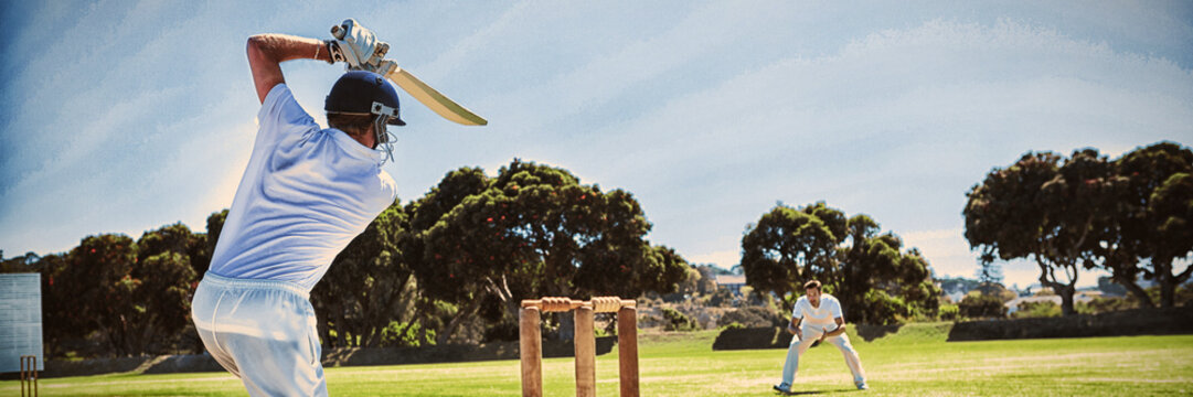 Player batting while playing cricket on field